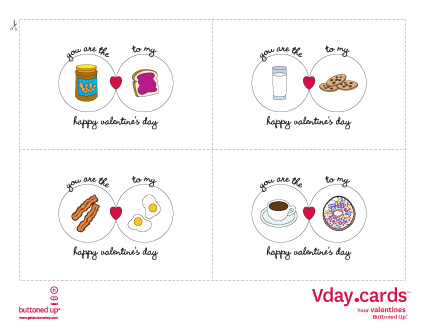 Free printable Valentines Day cards Buttoned Up – Printable Valentine Day Card
