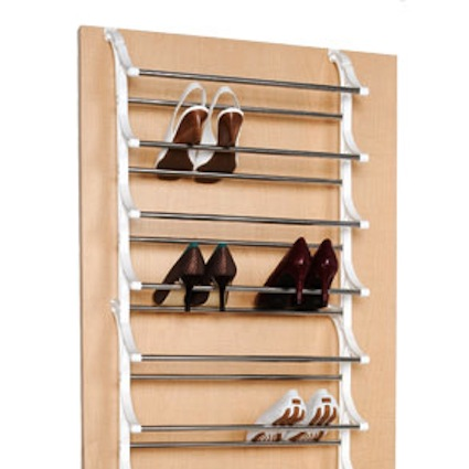 Save floor space by using an over the door hanger to organize shoes