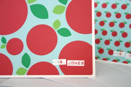 Teacher appreciation gift - customized apple stationery via Etsy