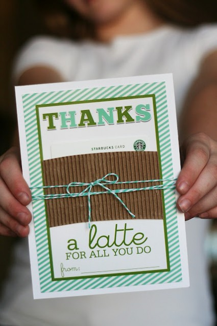 Teacher appreciation printable and Starbucks gift card idea