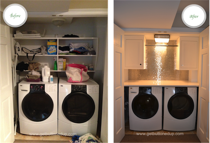 basement laundry closet - from messy to organized and beautiful